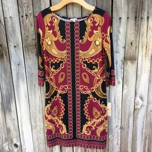NWT Haani Gold Chain Print Sheath Dress S